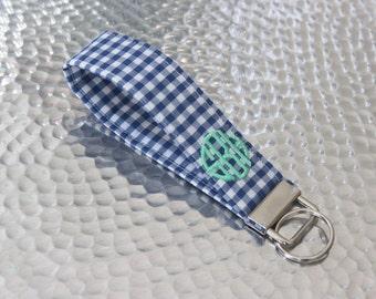 Monogrammed Gingham Wristlet Key Fob - Bridesmaid Gift - Preppy - Graduation Gift - Sorority Gift - Stocking Stuffer