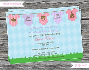 DIY - Baby Girl Little Princess Onesies Baby Shower Invitation # 447 - Coordinating Items Available