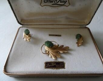 Vintage Tru Kay 12kt Gold Filled Jade Brooch and Earrings Mid Century