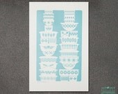 Kitchen Wall Art, Wall Art, Wall Decor, Vintage Bowl Letterpress Art Print, JJD_LP_VB