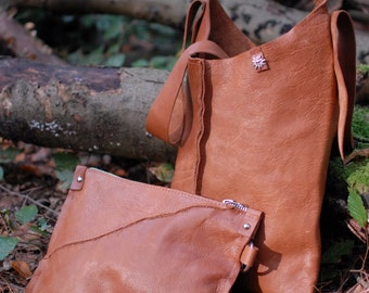 Leather bag, Leather Tote Cognac Leather and Raw Edge