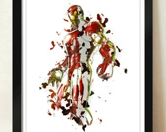 Digital Download Iron Man Painting Wall Abstract Art Superhero Poster Print Art - Boys Room - 8x10, 11x14