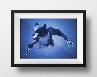 Digital Download Wolverine Abstract Monochrome Color Superhero Poster Print Art - Boys Room - 8x10, 11x14