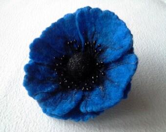 Felt Brooch  Poppy Flower, Wool Accessories, Handmade Blue Flower, Gift for Her, Hair Accessories, Felt Pins