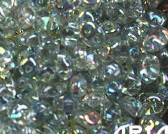 CRYSTAL BLUE RAINBOW: SuperDuo Two-Hole Czech Glass Seed Beads, 2.5x5mm (10 grams)