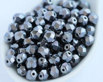 6mm Hematite Beads (30pcs) Cpcszech Fire Polished Beads 6mm Round Opaque Black Iris Gray