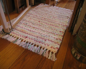 Hand Twined Rag Rug with Hand-tied Fringe, in Pinks, Spring Greens and White. (Free shipping)