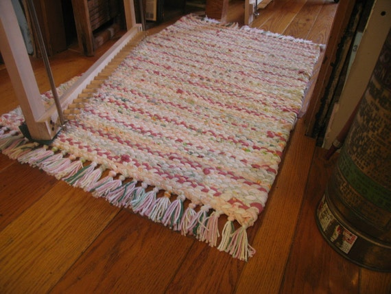 Hand Twined Rag Rug With Hand Tied Fringe In Pinks Spring