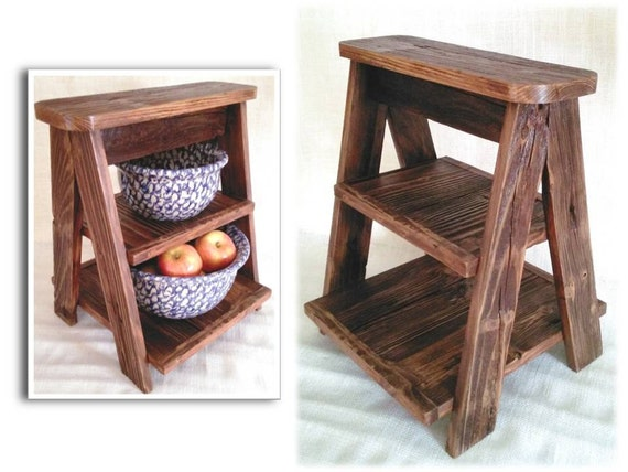 Rustic Reclaimed Barn Wood Ladder Kitchen Island Tabletop Countertop Shelf  Farmhouse Vintage Style Pie Serving Dish - Rustic Reclaimed Barn Wood Ladder Kitchen Island Tabletop