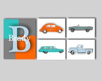 Transportation Nursery Art Baby Boy Nursery Car Bedding Decor Vintage Car Nursery Art Car Print Collection Choose Colors VC9105