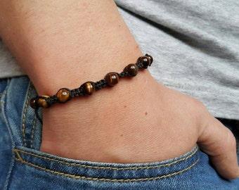 Shamballa Bracelet Men's Tiger eye Bracelet Mens Stone Bracelet Mens Jewelry