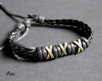 Leather black bracelet bronze pearl beads