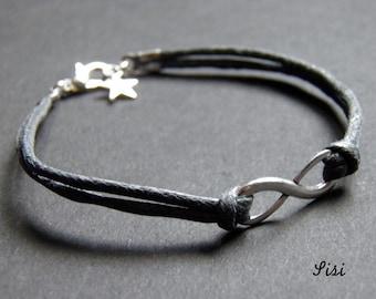 Infinity bracelet gray cotton cords