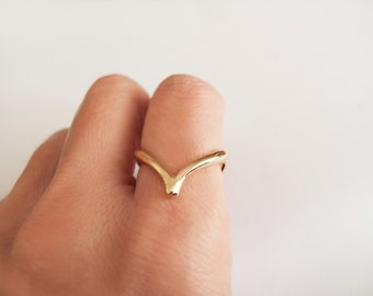 Gold WishBone Ring - Gift for her