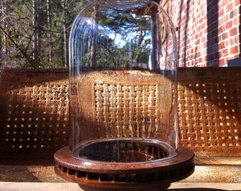 Vintage Industrial Pedestal Bowl from Old Brake Rotor with Glass Cloche