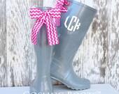 Monogram, Rain Boots, Gray, Bows, Chevron