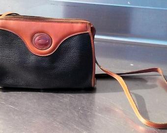 Vintage 80's Dooney and Burke Black / Tan Leather Handbag Purse ~ FREE SHIPPING