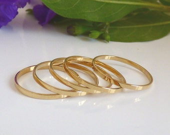 Thin Rings 1 Micron -  5 Above the Knuckle Rings - Plain Band Knuckle Rings, gold thin shiny rings - set of 5 midi rings.