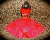 designer one of a kind Red Christmas organza  dog pet dress unique  fabric , ostrich feathers