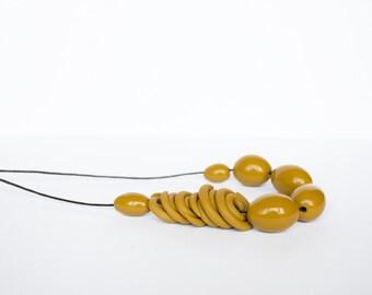 Polymer clay necklace Boho necklace Asymmetric necklace Beadwork necklace Olive green Ochre necklace Spring Adjustable necklace Metal free