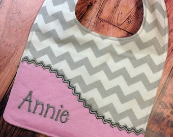 Grey Chevron Personalized Bib, - Monogrammed Bib, - Reversible Embroidered Baby Bib, - Baby Shower Gift