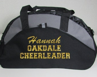 Custom Cheer or Dance Duffle Bag in Red, Blue or Black with Custom Personalized Lettering on Side in Glitter or Solid Colors