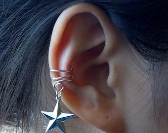 6)Ear Cuff; Star Charm Ear Cuff *Antique Silver
