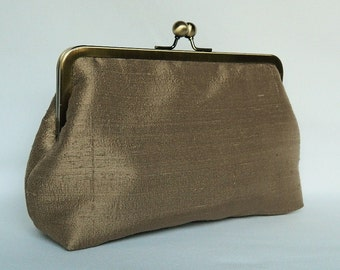 Bridal clutch purse, Bronze Silk Clutch, Wedding Clutch Purse, Brides Clutch, Bridesmaid Clutch, Evening Clutch. Bridesmaids Gifts