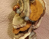 Polypore Turkey Tail Wild Mushroom Necklace with Wire Wrapped Crystals and Pearls