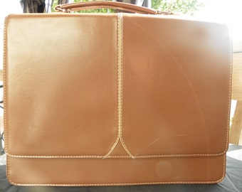 Vintage Landor and Hawa International Taupe Faux Leather Briefcase