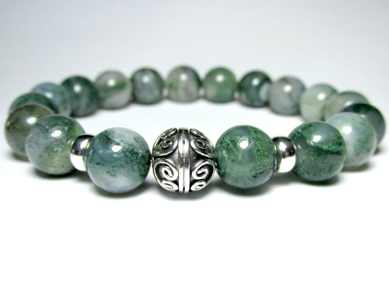 moss agate bracelet beaded bracelet stretch bracelet