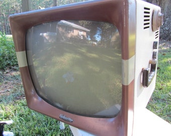 Vintage Television Set, Silvertone Metropolitan, TV Set, Black and White, Photo Prop, Portable tv set