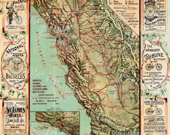 Old California Map California Bicycle Map 1895 Vintage California map cycling map Antique California wall Map Fine art Print Poster decor