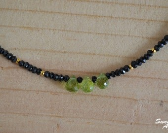 Black Spinel Necklace with Peridot Drops