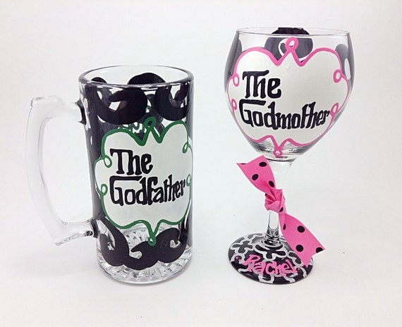 SET OF 2 The Godmother And The Godfather Wine Glass By