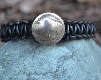 Men's Leather and Genuine Buffalo or Indian Head Nickel Bracelet