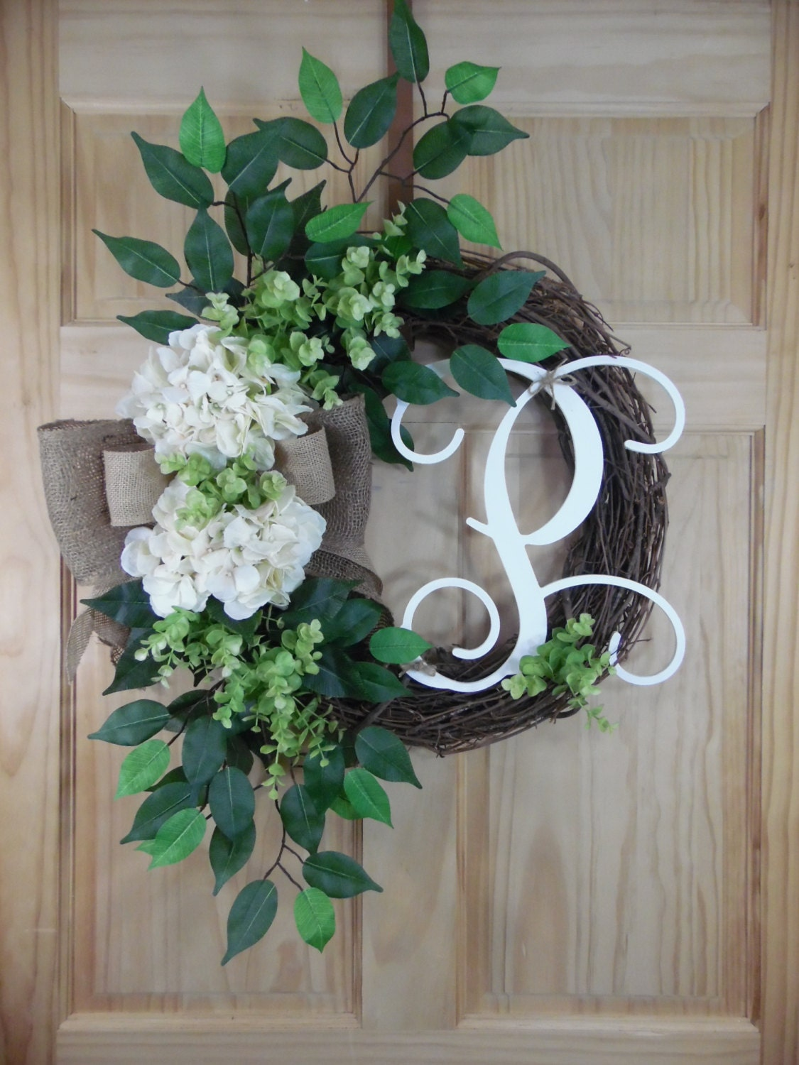 SPRING wreath - summer Wreath - Hydrangea Wreath - Grapevine Wreath - Wreath - mothers day - housewarming