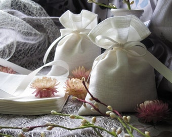 50 pcs Rustic Linen favor bags, Fabric gift bags, Candy bags - Wedding - Shower,  4x6'', Ivory