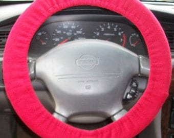 Steering wheel cover red, neon green, turquoise, purple, pink, other solid colors