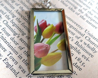 Tulips and Poetry Book Page Double-Sided Frame Pendant