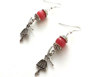 Ballerina earrings, ballet earrings, pink agate