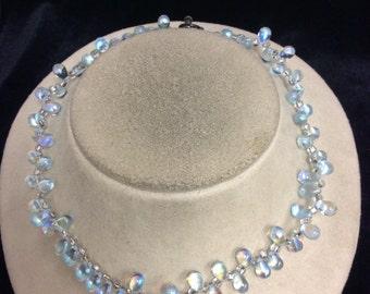 Vintage Unique Irridesent Glass Toggle Necklace