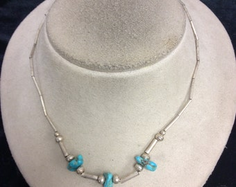 Vintage Sterling Silver & Turq Necklace