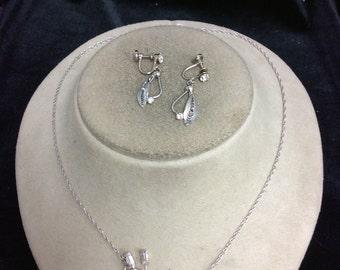 Vintage Sterling Silver Floral & Rhinestone Necklace Earring Set
