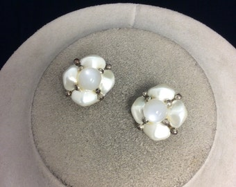 Vintage Pearlized Plastic Beaded Earrings