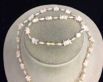Vintage Stone & Faux Pearl Necklace