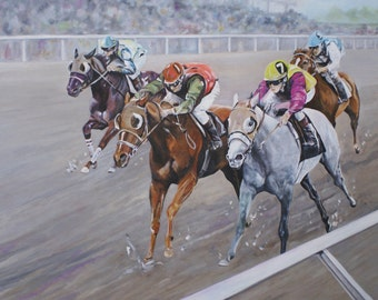 Original hand painted acrylic painting on canvas of vintage thoroughbred horse racing