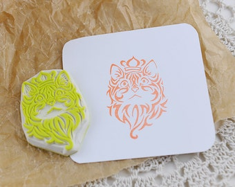 Hand carved  Stamp/ Cats & Crown