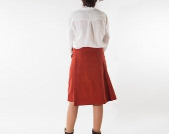 wrap skirt light - rust red earthenware - velvet - handmade