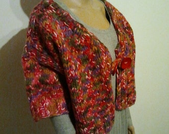 Oversize Cardigan with short arm from thick coloured wool
